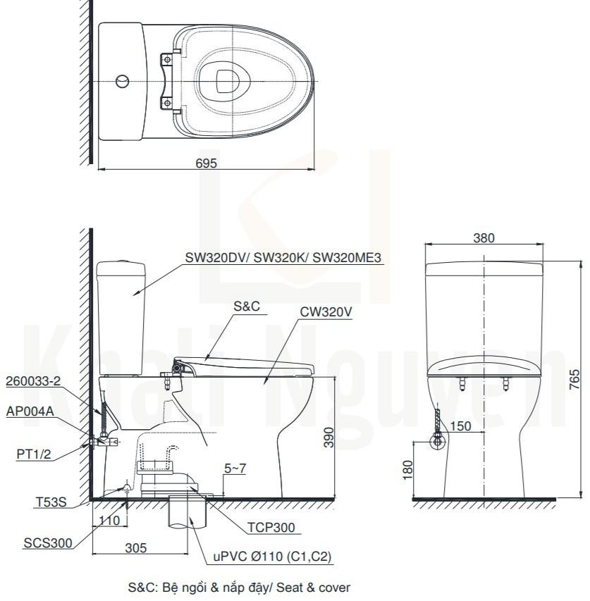 Bản Vẽ Bồn Cầu TOTO CS320DRE2 Hai Khối Nắp Cơ