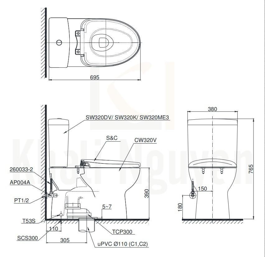 Bản Vẽ Bồn Cầu TOTO CS320DRE4 Hai Khối Nắp Cơ