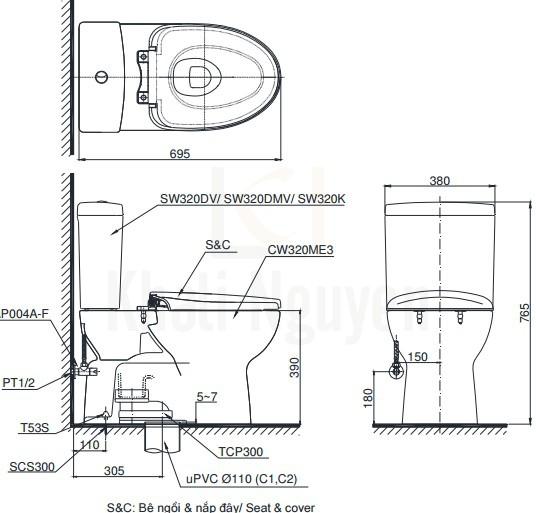 Bản Vẽ Bồn Cầu Hai Khối TOTO CS320DRT2 Nắp TC393V