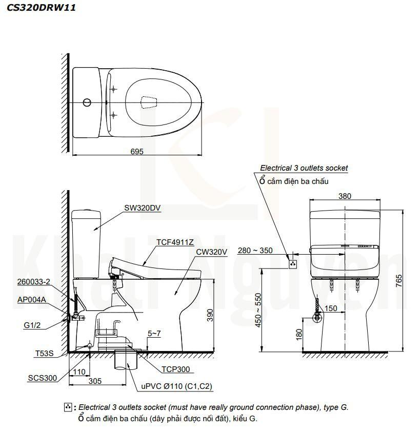 Bản Vẽ Bồn Cầu Hai Khối TOTO CS320DRW11 Nắp Rửa WASHLET