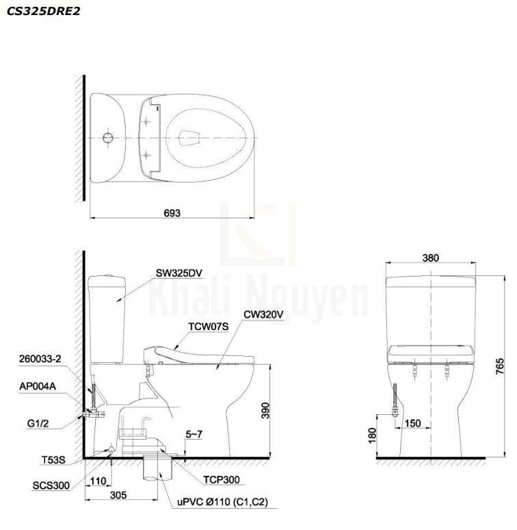 Bản Vẽ Bồn Cầu TOTO CS325DRE2 Hai Khối Nắp Cơ