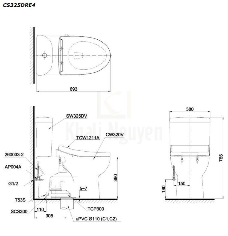 Bản Vẽ Bồn Cầu TOTO CS325DRE4 Hai Khối Nắp Cơ