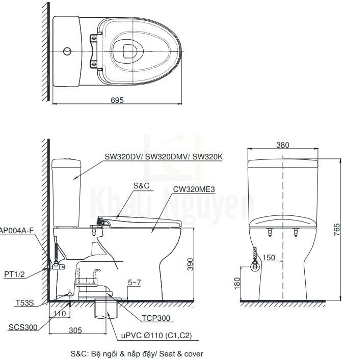 Bản Vẽ Bồn Cầu TOTO CS325DRT8 Hai Khối Nắp TC600VS