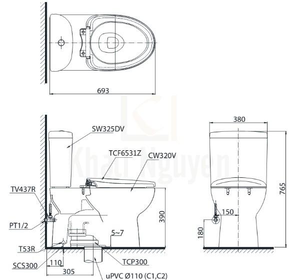Bản Vẽ Bồn Cầu Điện Tử TOTO CS325DRW6 Nắp Rửa Washlet