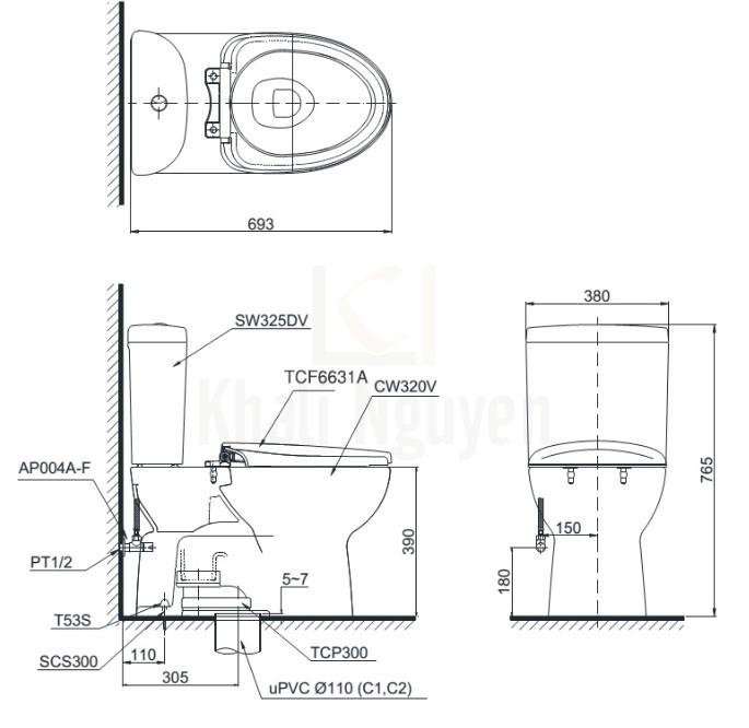 Bản Vẽ Bồn Cầu Điện Tử TOTO CS325DRW7 Nắp Rửa Washlet