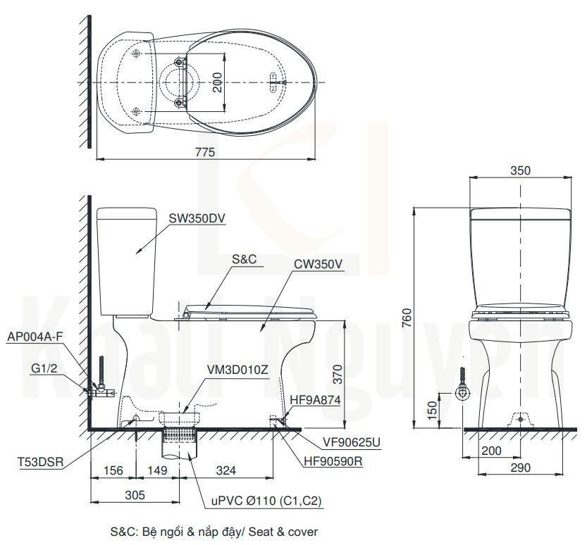 Bản Vẽ Bồn Cầu TOTO CS350DE2 Hai Khối Nắp Cơ