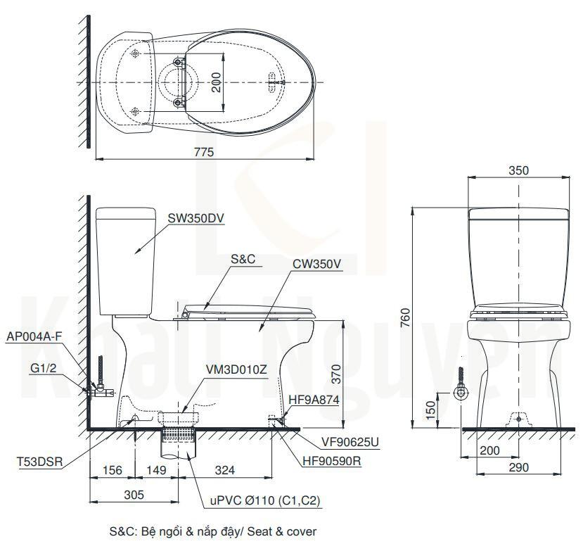 Bản Vẽ Bồn Cầu TOTO CS350DE4 Hai Khối Nắp Cơ