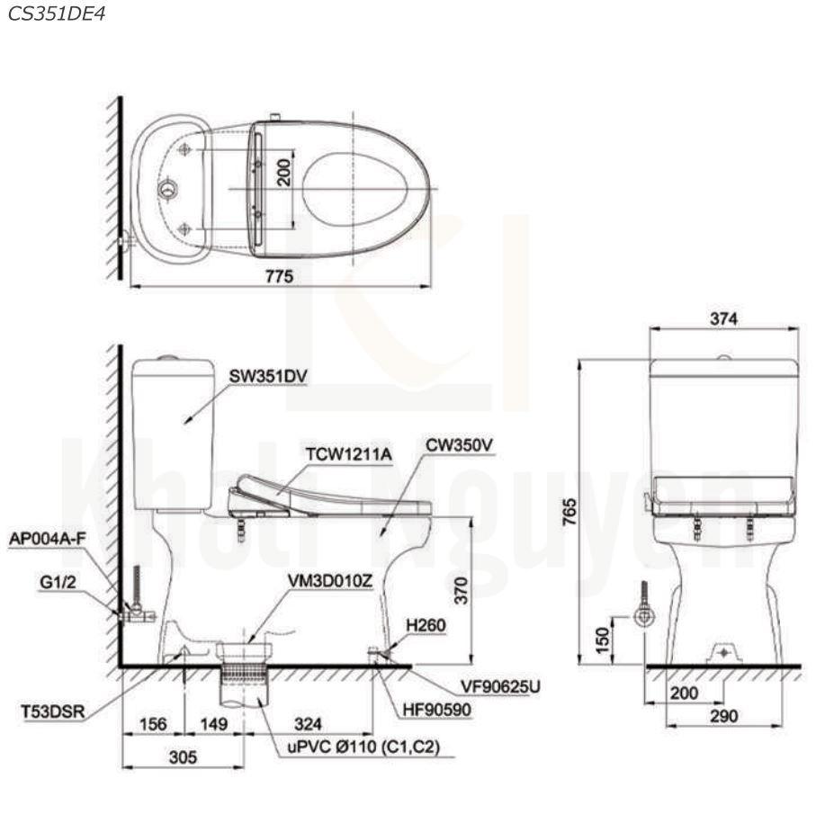 Bản Vẽ Bồn Cầu Hai Khối TOTO CS351DE4 Nắp Rửa TCW1211A