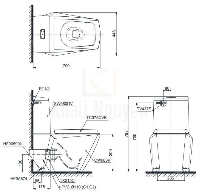 Bản Vẽ Bồn Cầu TOTO CS680PDT4 Hai Khối Nắp TC375CVK