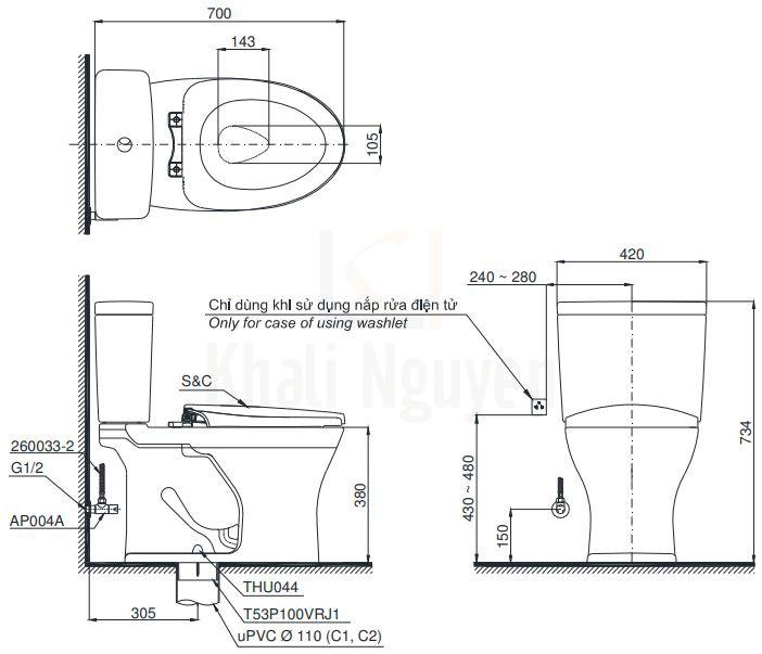 Bản Vẽ Bồn Cầu TOTO CS735DE2 Hai Khối Nắp Cơ