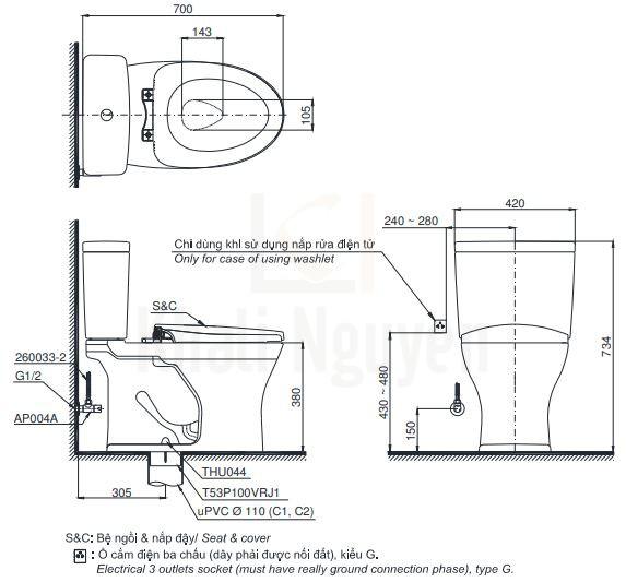 Bản Vẽ Bồn Cầu Điện Tử TOTO CS735DW11 Nắp Rửa Washlet