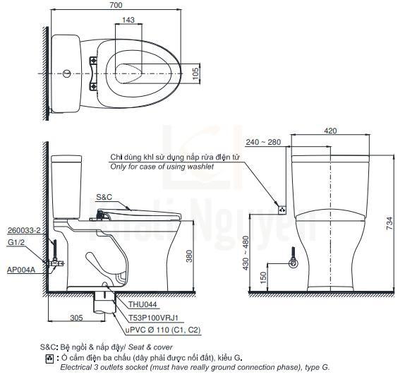 Bản vẽ Bồn Cầu Điện Tử TOTO CS735DW6 Nắp Rửa Washlet