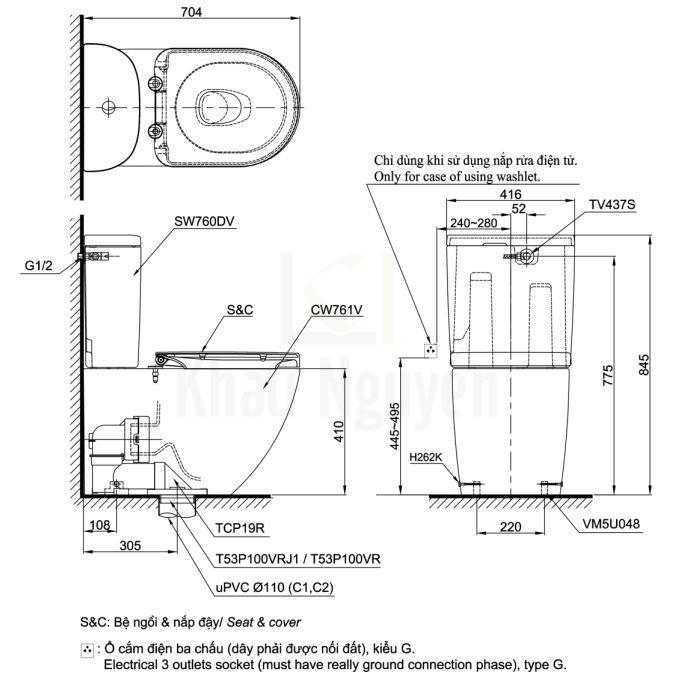 Bản Vẽ Bồn Cầu TOTO CS761DE5 Hai Khối Nắp Rửa Cơ