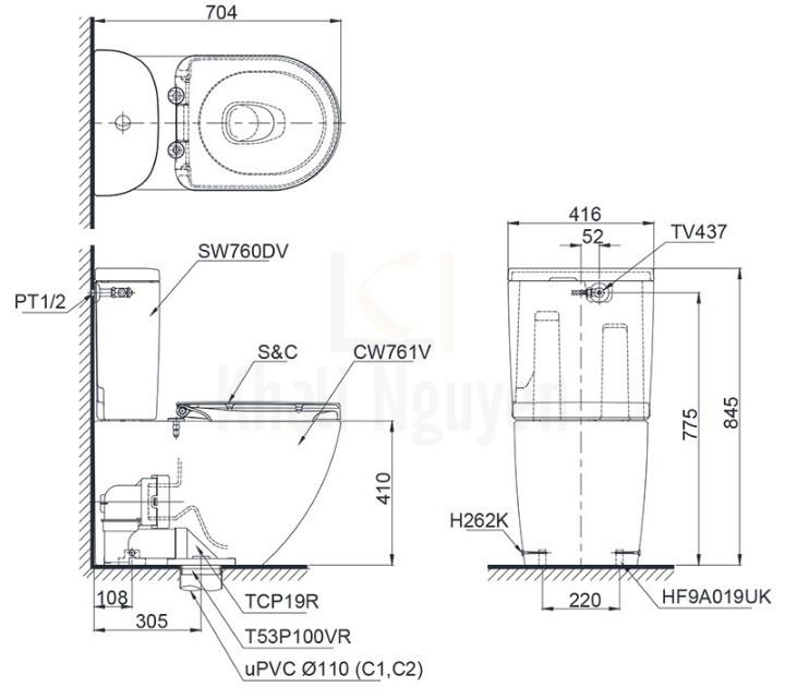 Bản Vẽ Bàn Cầu TOTO CS761DW5 Nắp Điện Tử Tự Động