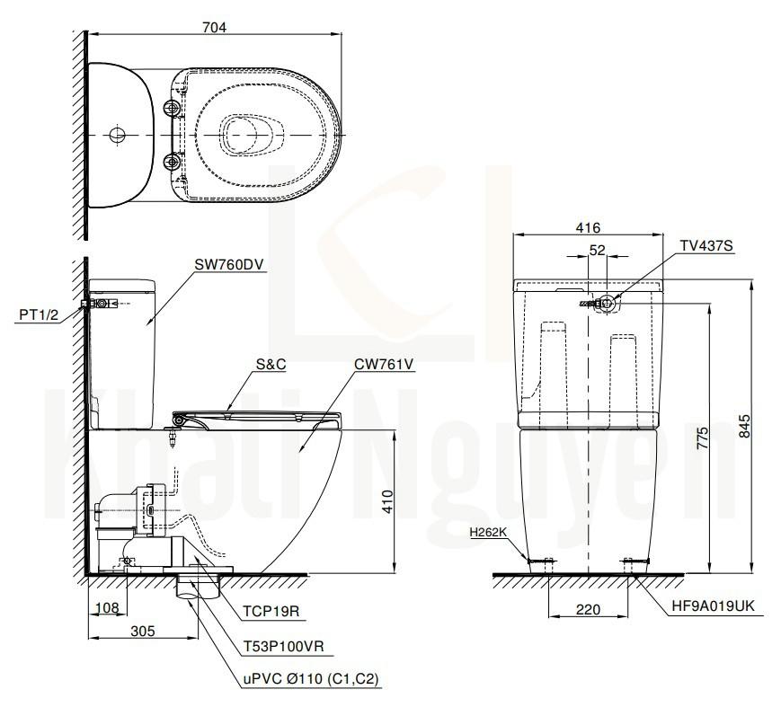 Bản Vẽ Bàn Cầu TOTO CS761DW8 Nắp Điện Tử Washlet