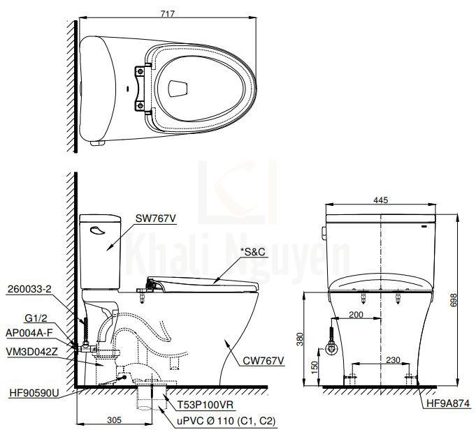 Bản Vẽ Bồn Cầu Điện Tử TOTO CS767CW12 Nắp Washlet Giấu Dây