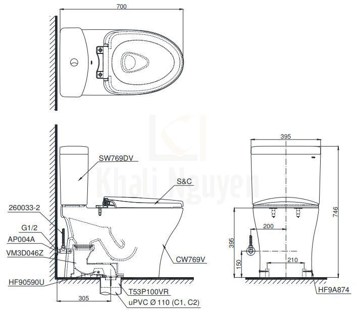 Bản Vẽ Bàn Cầu TOTO CS769DRE2 Hai Khối Nắp Cơ