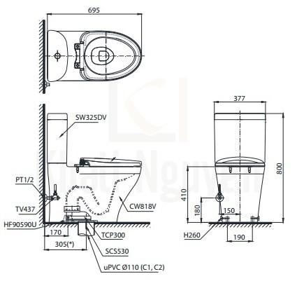 Bản Vẽ Bồn Cầu Điện Tử TOTO CS818DW7 Nắp Rửa Washlet