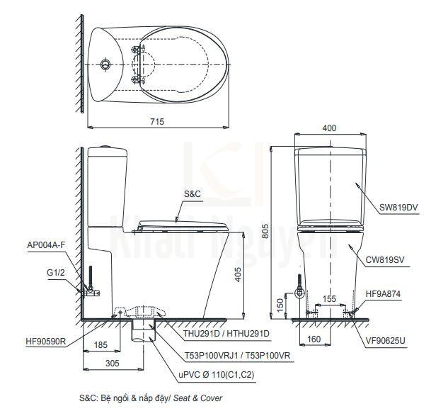Bản vẽ Bồn Cầu TOTO CS819DSE4 Hai Khối Nắp Cơ