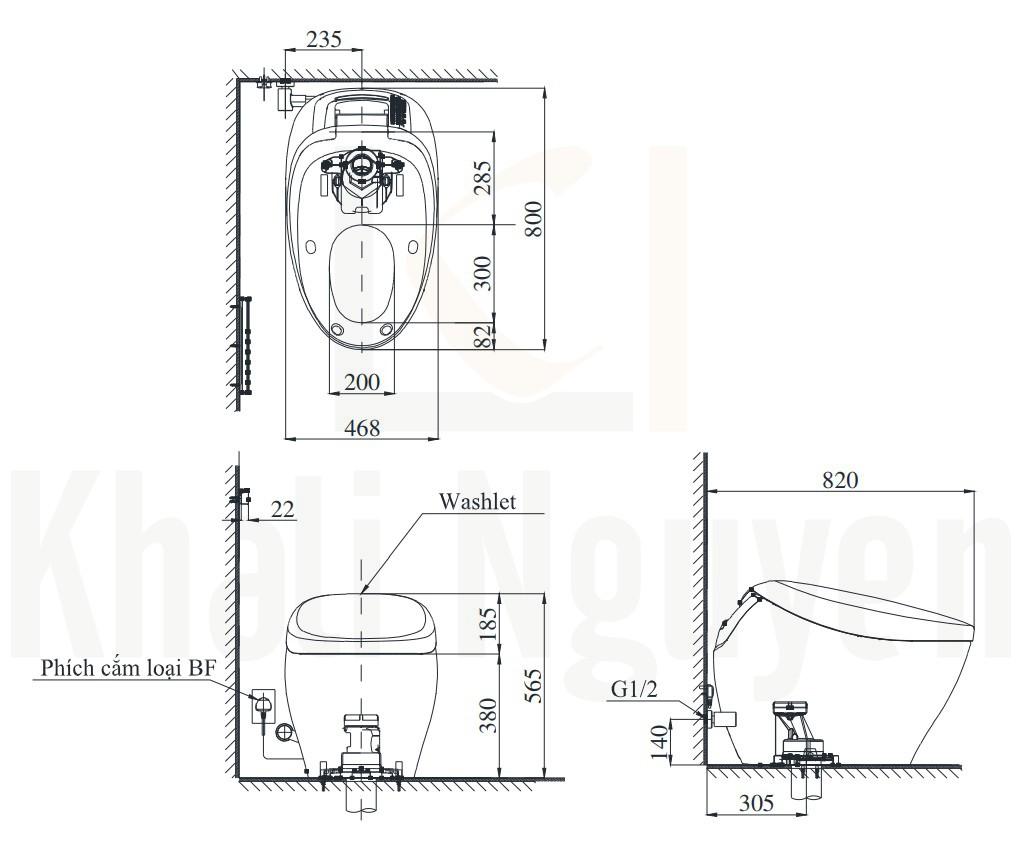 Bản Vẽ Bồn Cầu Thông Minh TOTO CS900KVT#NW1/T53P100VR Neorest NX1 (220V)