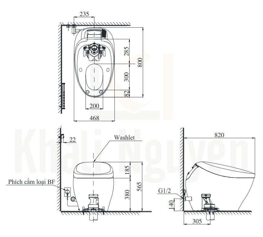 Bản Vẽ Bồn Cầu Thông Minh TOTO CS901VT#NW1/T53P100VR Neorest NX1 (220V)