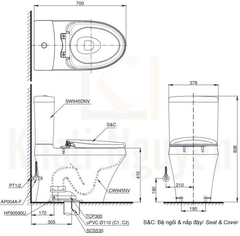 Bản Vẽ Bồn Cầu Hai Khối TOTO CS945DNT3 Nắp TC385VS