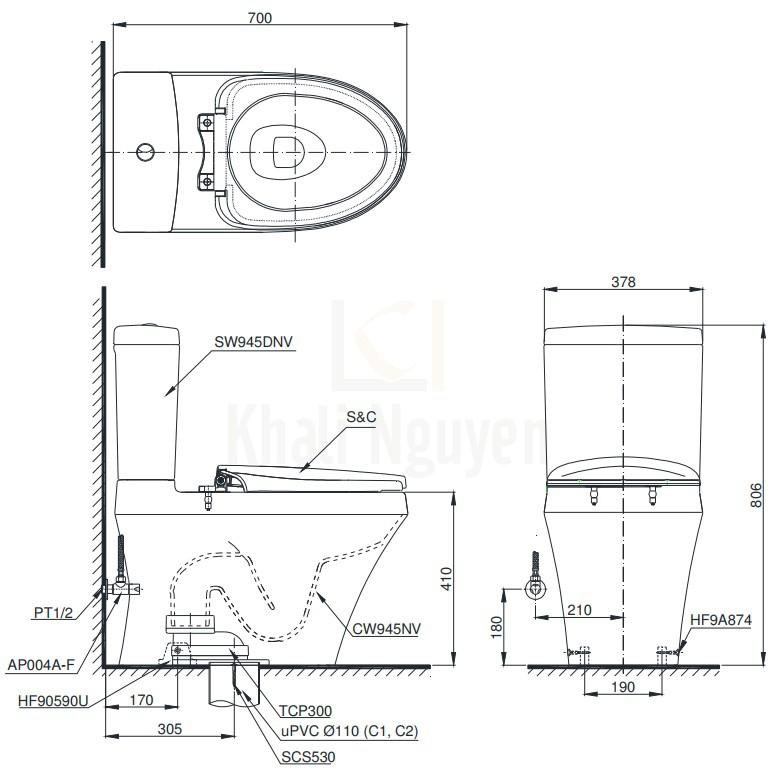 Bản Vẽ Bồn Cầu Điện Tử TOTO CS945DNW11 Nắp Tự Động Đóng Mở
