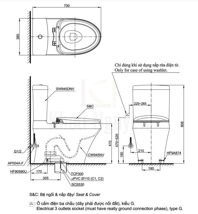 Bản Vẽ Bồn Cầu Điện Tử TOTO CS945DNW6 Nắp Rửa Washlet