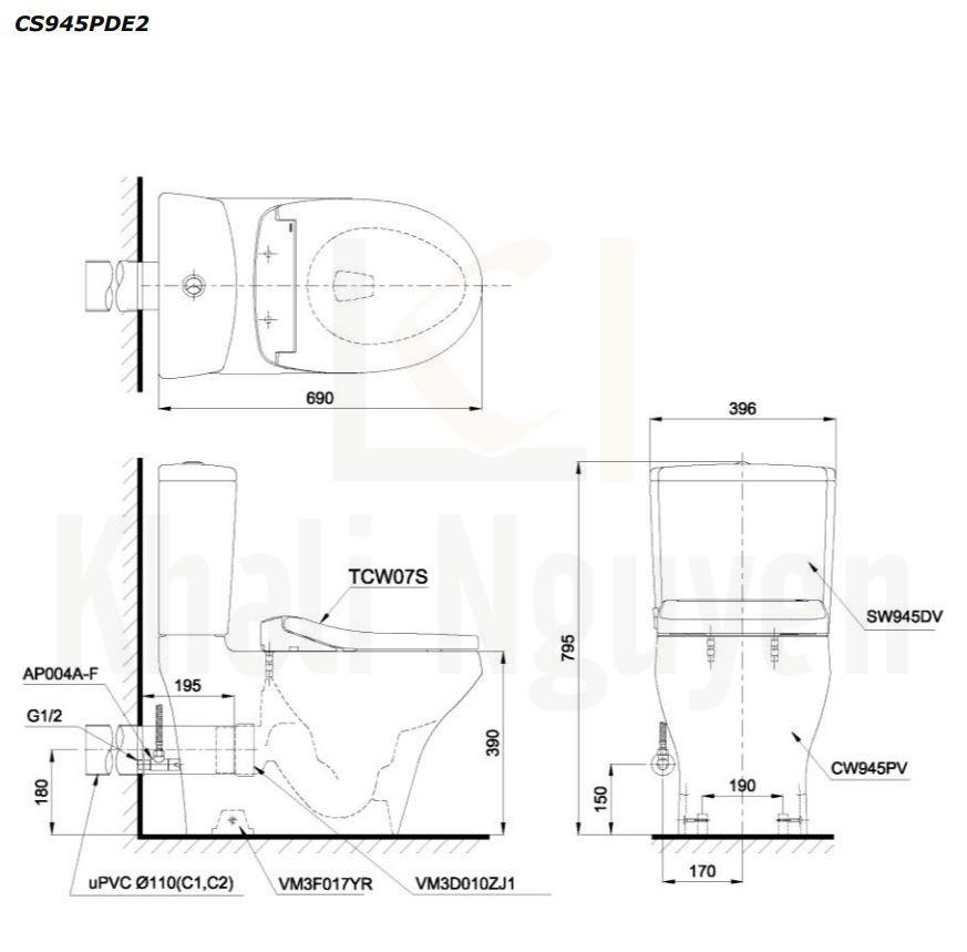 Bản Vẽ Bồn Cầu Hai Khối TOTO CS945PDE2 Nắp Rửa TCW07S