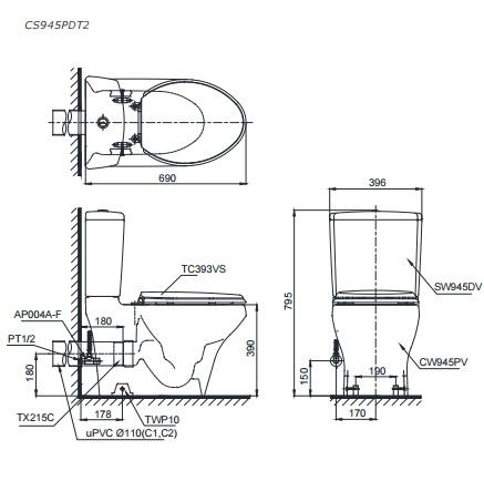 Bản Vẽ Bồn Cầu Hai Khối TOTO CS945PDT2 Thoát Ngang