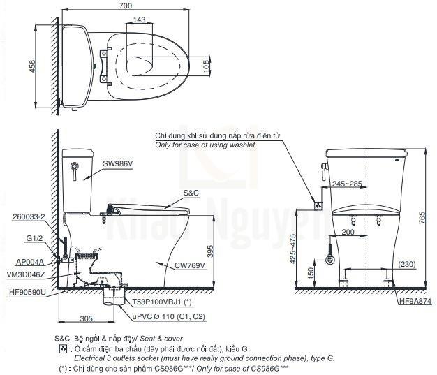 Bản Vẽ Bồn Cầu TOTO CS986GE4 Hai Khối Nắp Cơ