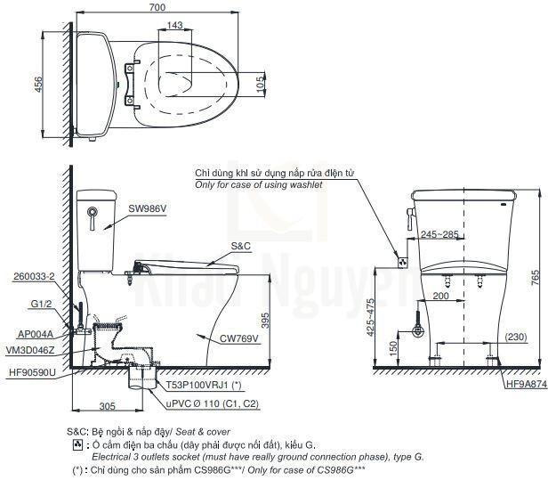 Bản Vẽ Bồn Cầu Hai Khối TOTO CS986GT2 Nắp TC393VS