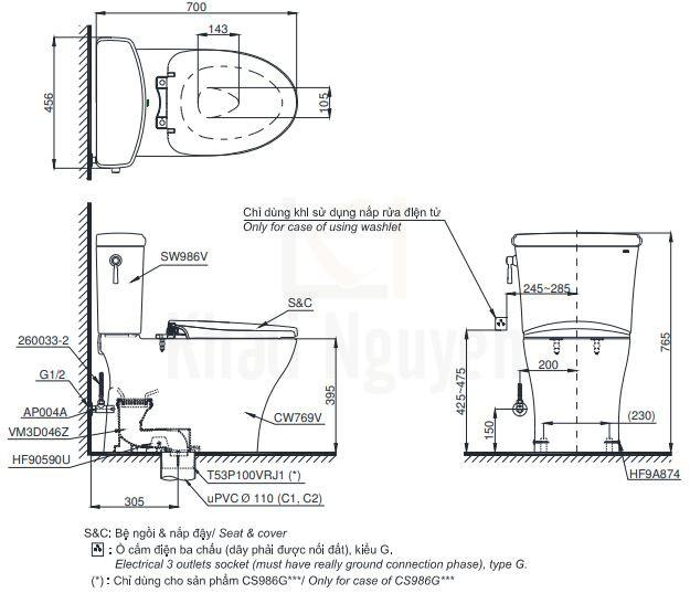 Bản Vẽ Bồn Cầu Hai Khối TOTO CS986GT3 Nắp TC385VS
