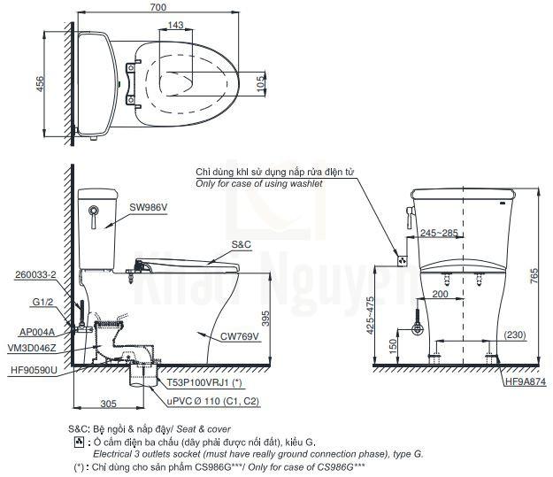 Bản Vẽ Bồn Cầu Hai Khối TOTO CS986GT8 Nắp TC600VS