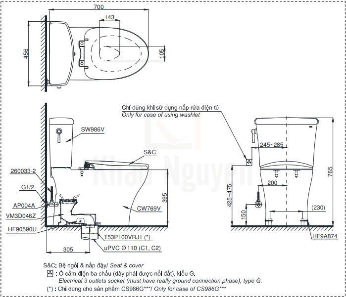 Bản Vẽ Bồn Cầu Điện Tử TOTO CS986GW7 Nắp Rửa Washlet