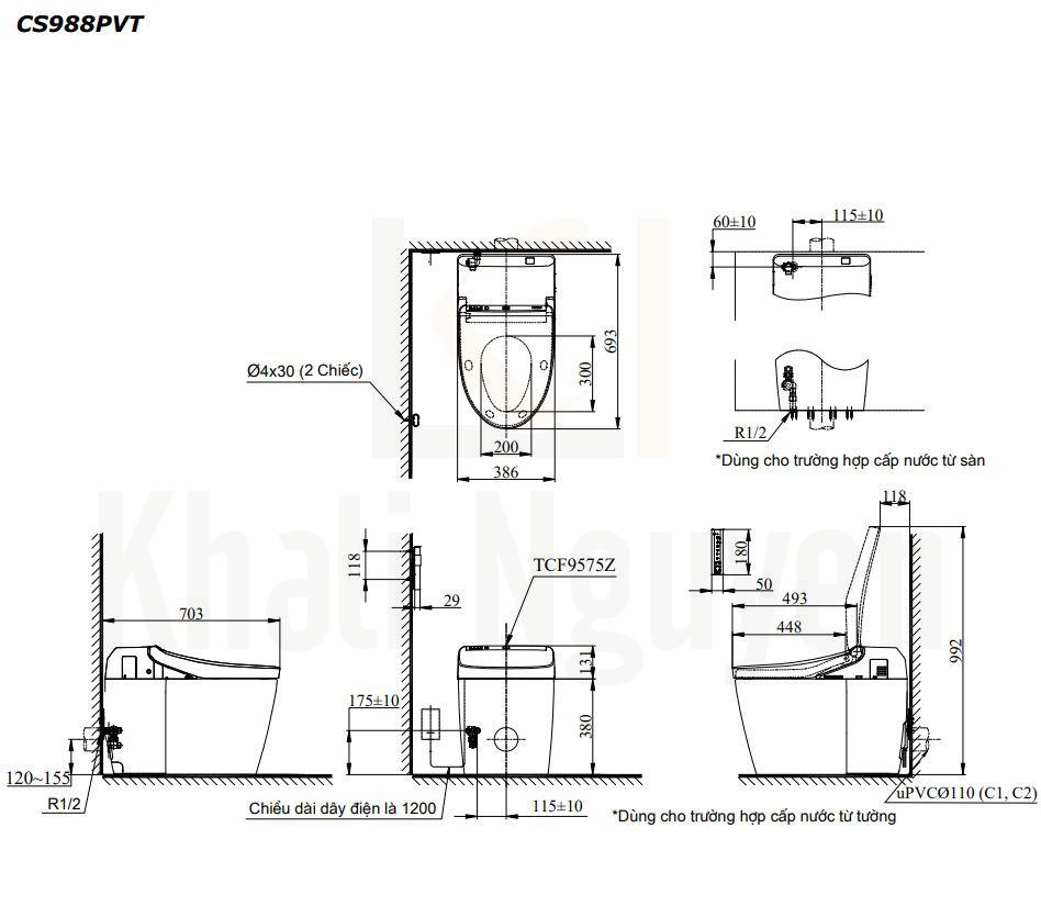 Bản Vẽ Bồn Cầu Điện Tử TOTO CS988PVT/TCF9575Z NEOREST DH