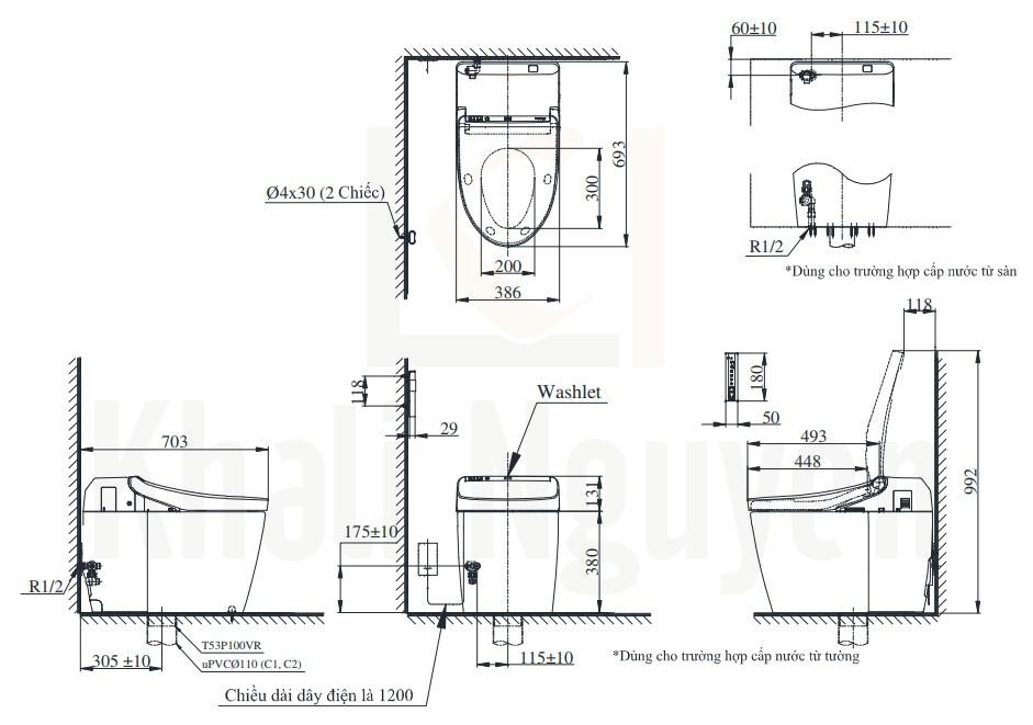 Bản Vẽ Bồn Cầu Thông Minh TOTO CS988VT/TCF9575Z NEOREST DH