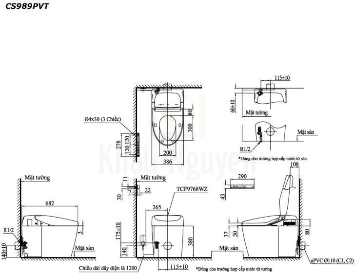 Bản Vẽ Bồn Cầu Điện Tử TOTO CS989PVT/TCF9768WZ NEOREST RH
