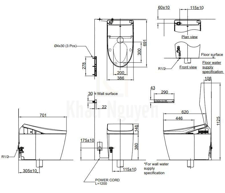 Bản Vẽ Bồn Cầu Thông Minh TOTO CS989VT/TCF9788WZ Neorest