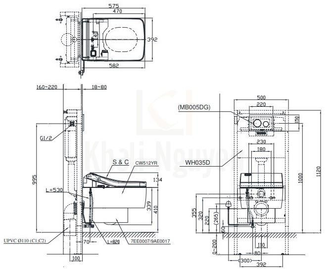 Bản Vẽ Bồn Cầu Treo Tường TOTO CW512YR/7EE0007/TCF403EA Nắp Điện Tử