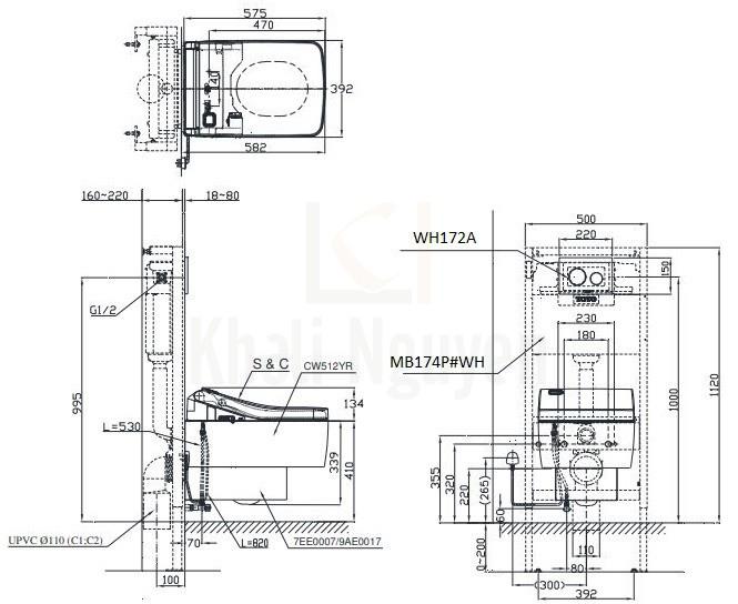 Bản Vẽ Bồn Cầu Treo Tường TOTO CW512YR/9AE0017/TCF403EA Nắp Điện Tử