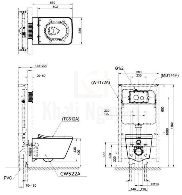 Bản Vẽ Bồn Cầu TOTO CW522A/TC512A Treo Tường