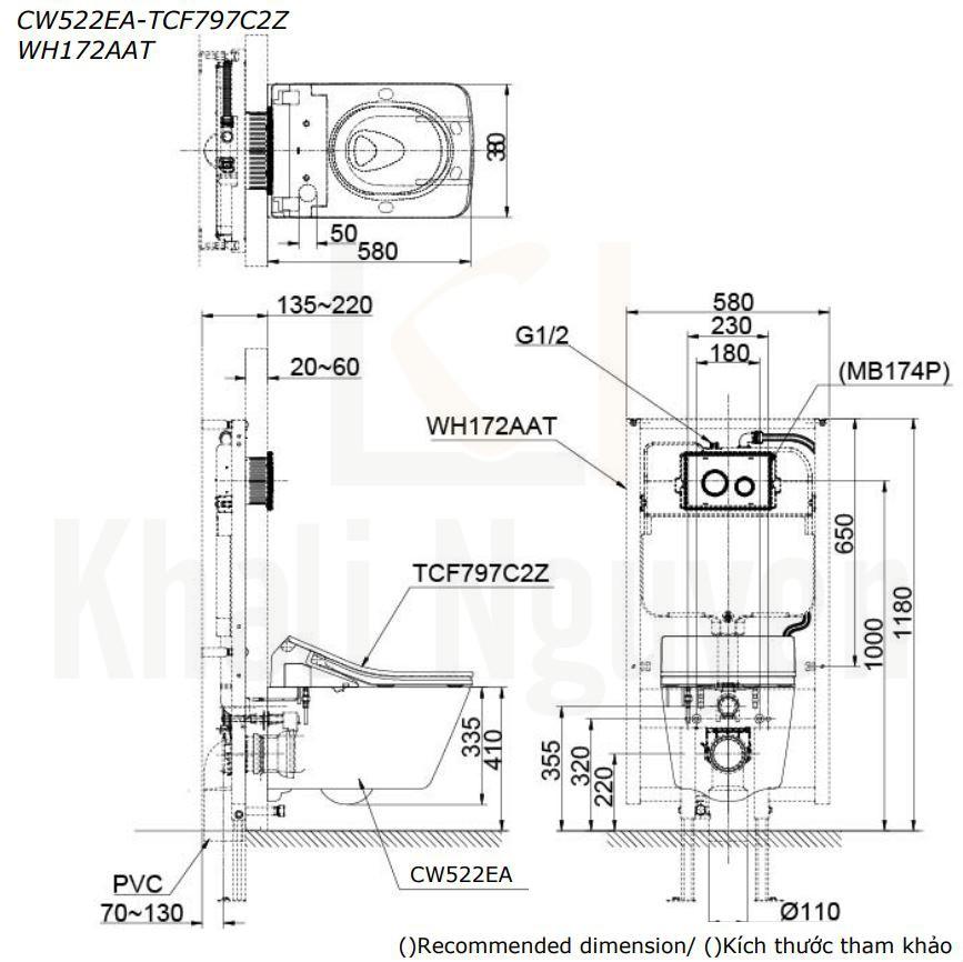 Bản Vẽ Bồn Cầu Treo Tường TOTO CW522EA/TCF797C2Z/WH172AAT Nắp Điện Tử WASHLET