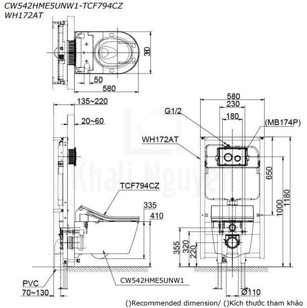 Bản Vẽ Bồn Cầu TOTO CW542HME5UNW1/TCF794CZ/WH172AT/MB175M Treo Tường