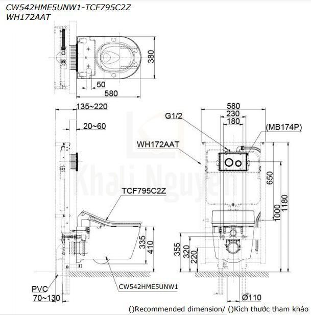 Bản Vẽ Bồn Cầu TOTO CW542HME5UNW1/TCF795C2Z/WH172AAT Nắp Điện Tử Treo Tường