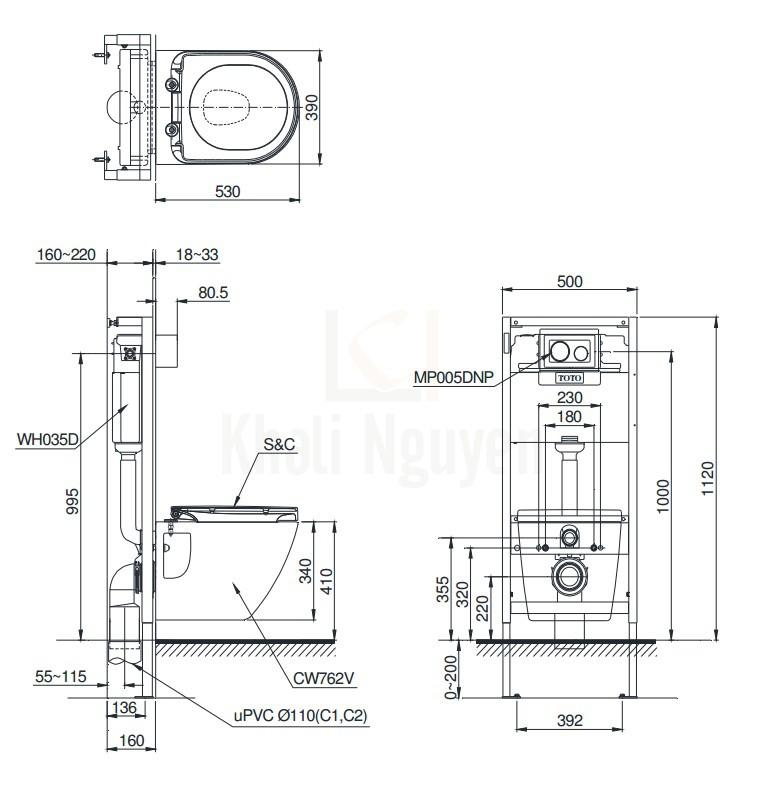 Bản Vẽ Bồn Cầu TOTO CW762/WH035D/MB005DCP Treo Tường