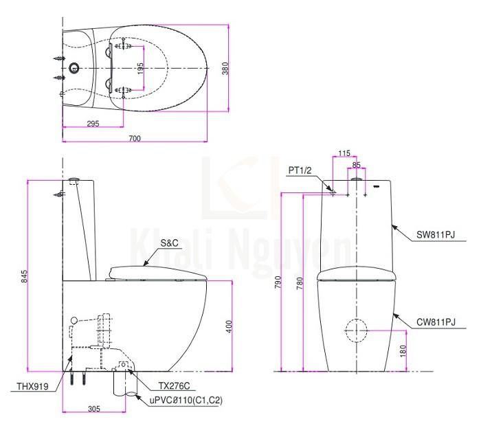 Bản Vẽ Bồn Cầu TOTO CW811PJWS/SW811JPW/F 2 Khối