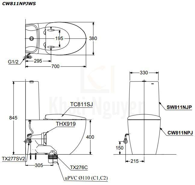 Bản Vẽ Bồn Cầu TOTO CW811PJWS/SW811JPWF/THX919 Hai Khối