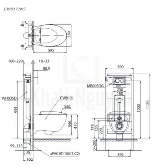 Bản Vẽ Bồn Cầu TOTO CW812JWS/WH037D-162B/MB005DG Treo Tường