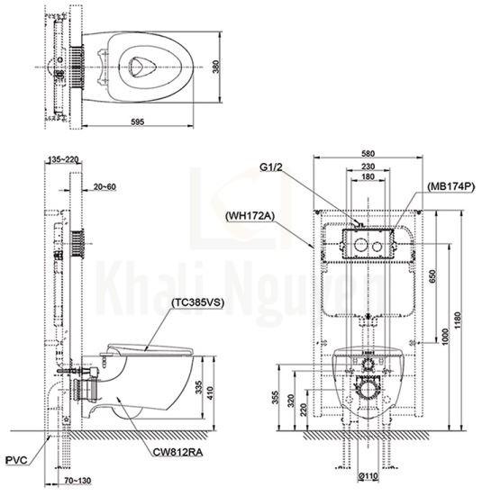 Bản Vẽ Bồn Cầu Treo Tường TOTO CW812RA/TCF4911Z Nắp Điện Tử